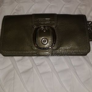 Gray Patent Leather Wristlet with silver buckle